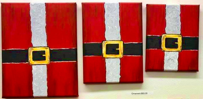 Santa Belts: $120, 11x14; $100, 9x12, #80, 8x10. (oil)